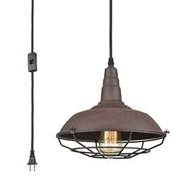 AXILAND Farmhouse Industrial Lighting Fixture Plug in Pendan