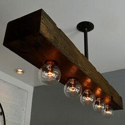Farmhouse Recessed 5-Light Dark Distressed Wood Beam Linear