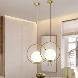 Globe Ring Ceiling Pendant Light Lamp Glass Shade Home Bar F