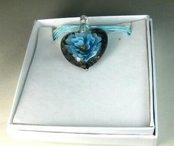 hand blown glass necklace pendant   murano style  heart flow