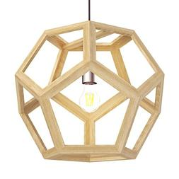 Tomons Hollow Design Wood Ceiling Pendant Lamp, Geometry Sha