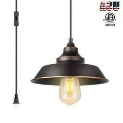 Indoor Pendant Lamp 1-Light Ceiling Hanging Light With Plugi