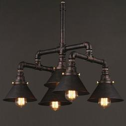 Industrial 5 Light Pendant Lamp Copper Steampunk Pipe Chande