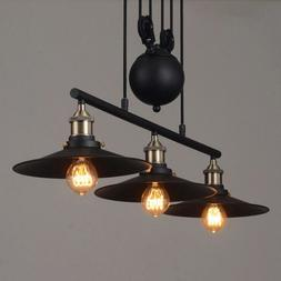 3 light industrial chandelier pulley ceiling pendant