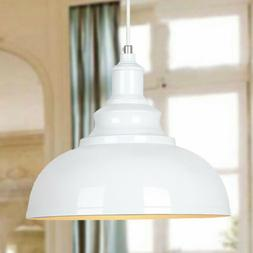 Industrial Dome Pendant Lamp White Indoor Single Ceiling Lig