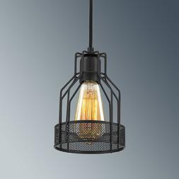 YOBO Lighting Industrial Edison Antique Black Wire Cage Pend