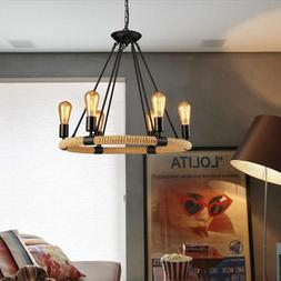 Industrial Farmhouse Rustic Rope Chandelier Light Edison Res