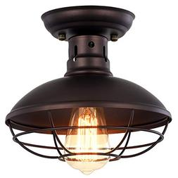 Pauwer Industrial Metal Cage Ceiling Light Semi Flush Mount