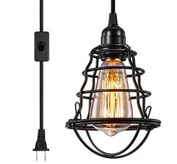 INNOCCY Industrial Plug in Pendant Light Vintage Hanging Cag