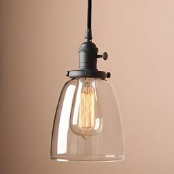 Pathson Industrial Glass Pendant Lighting, Black Vintage Sty