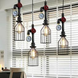 Industrial Vintage Cage Wire Lamp Bulb Steampunk Pipe Pendan