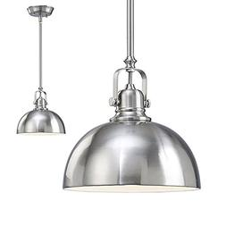 2 Pack of Kitchen and Bar 1 Light Mini Pendants with Brushed