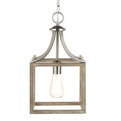 1-Light Brushed Nickel Mini Pendant with Painted Weathered G