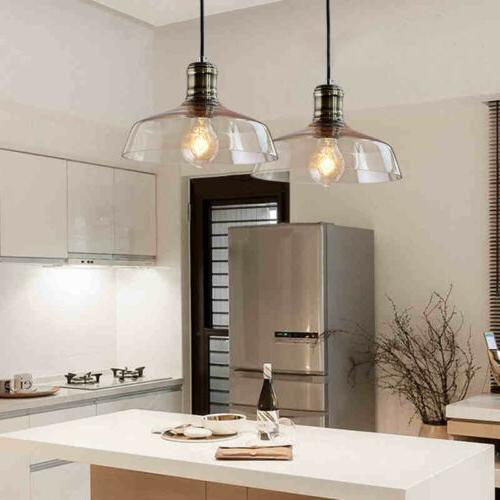 Rustic Modern Glass Shade Pendant LIght Ceiling Lamp Kitchen