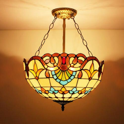 tiffany style hanging ceiling light stained glass
