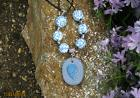 "22"" Light Blue & White Beaded Polymer Clay Coil Pendant Beac"