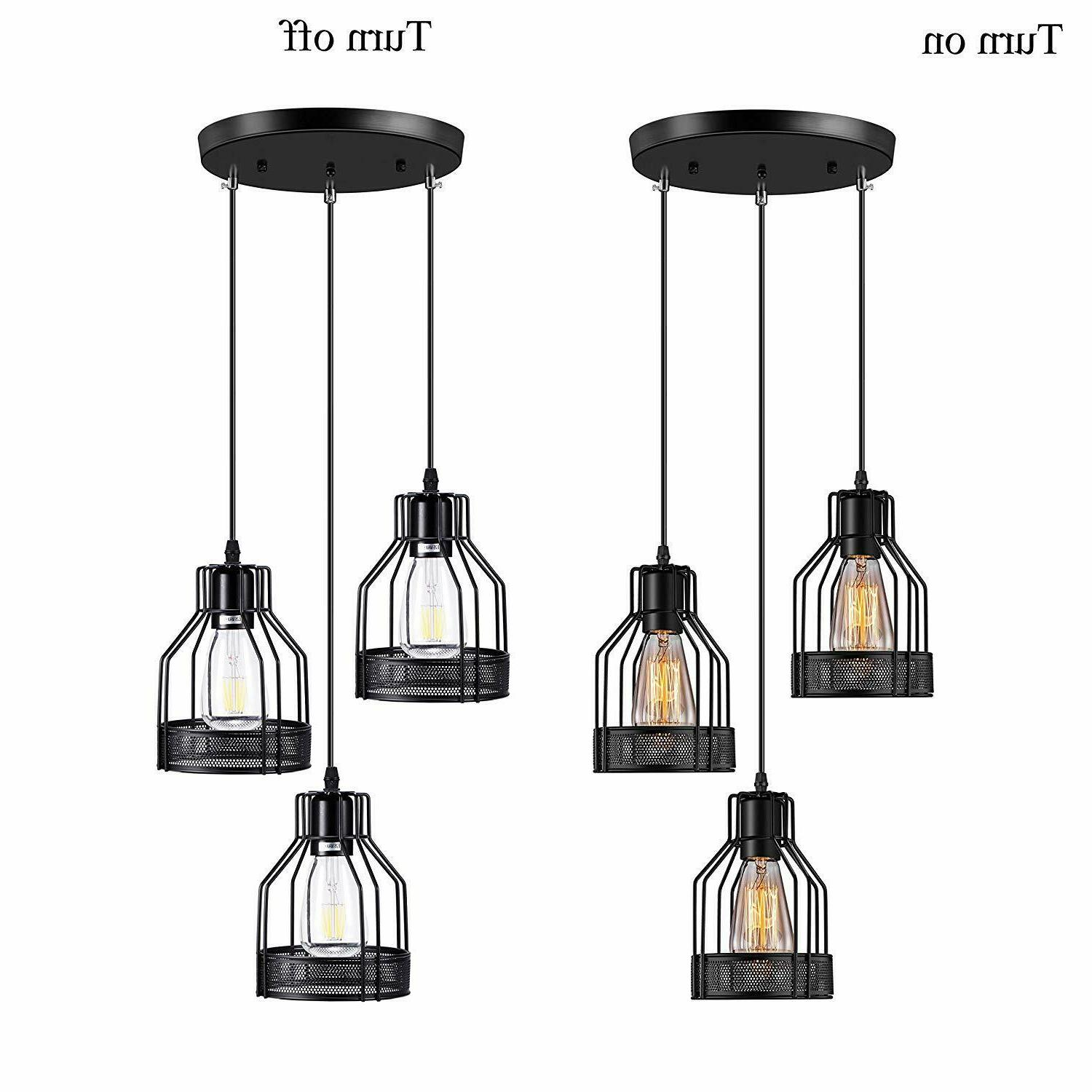 3 pendant light fixture industrial black hanging