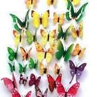 48pcs 4 Colours 3D Butterfly Magnet & Wall Stickers Fridge H