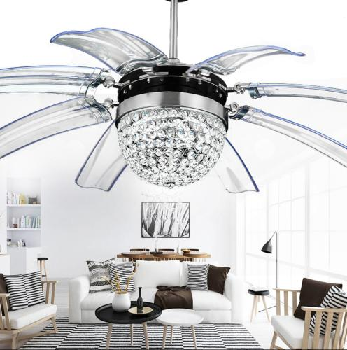 """42"""" Crystal Ceiling Fan Light Chandelier LED Invisible Blade"""