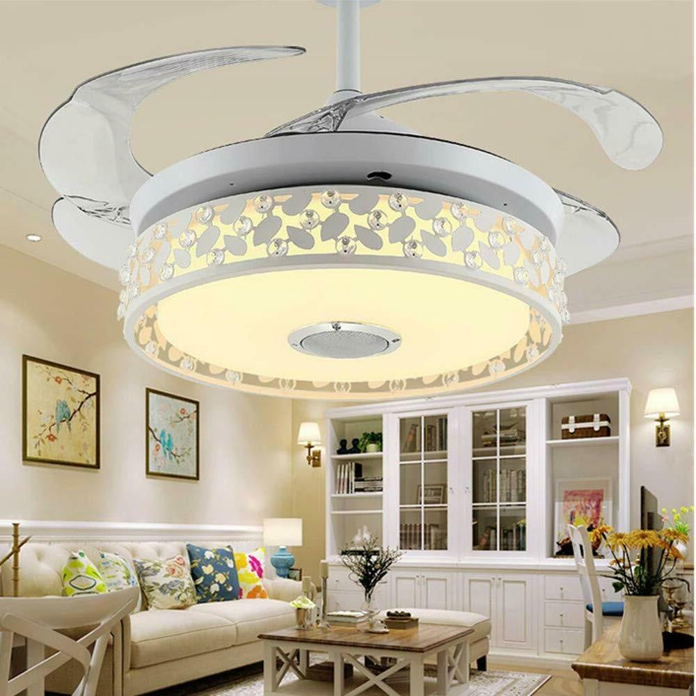 42'' Invisible Ceiling Fans Light Bluetooth Music Player Cha