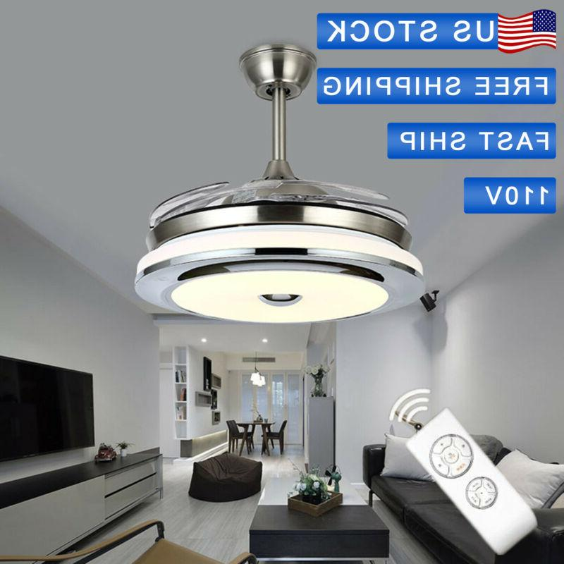 New Stainless Steel Retractable Ceiling Fan Pendant Light *