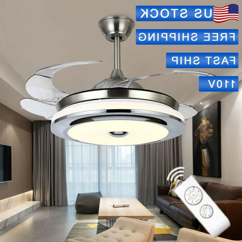 new stainless steel retractable ceiling fan light