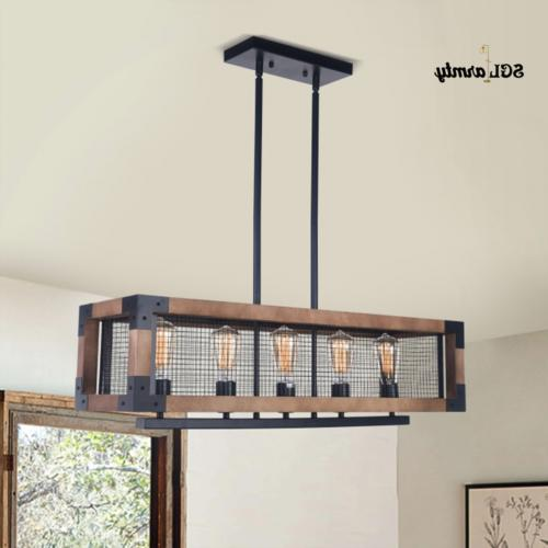 5 Lights Industrial Kitchen Island Light Wood Chandelier Pen