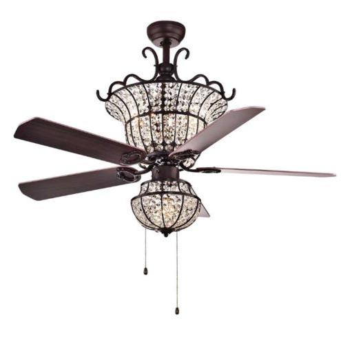 52 crystal ceiling fan light home bar