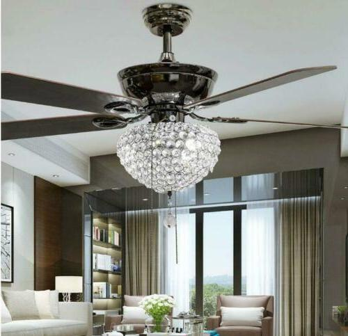 """52"""" Tiffany Crystal 3-Light Ceiling Fans Lamps Home Chandeli"""
