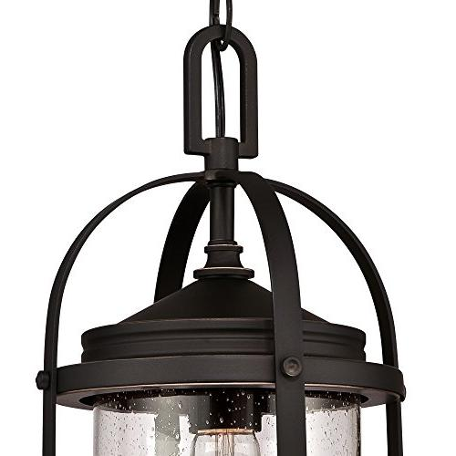 Westinghouse One-Light Outdoor Pendant, Oil Rubbed Bronze Finish Highlights and Seeded Glass