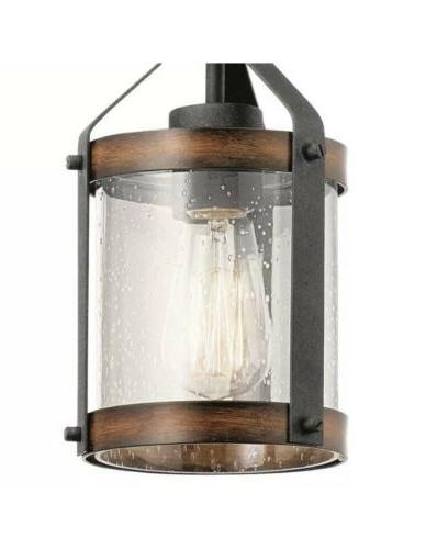 barrington distressed black and wood rustic cylinder