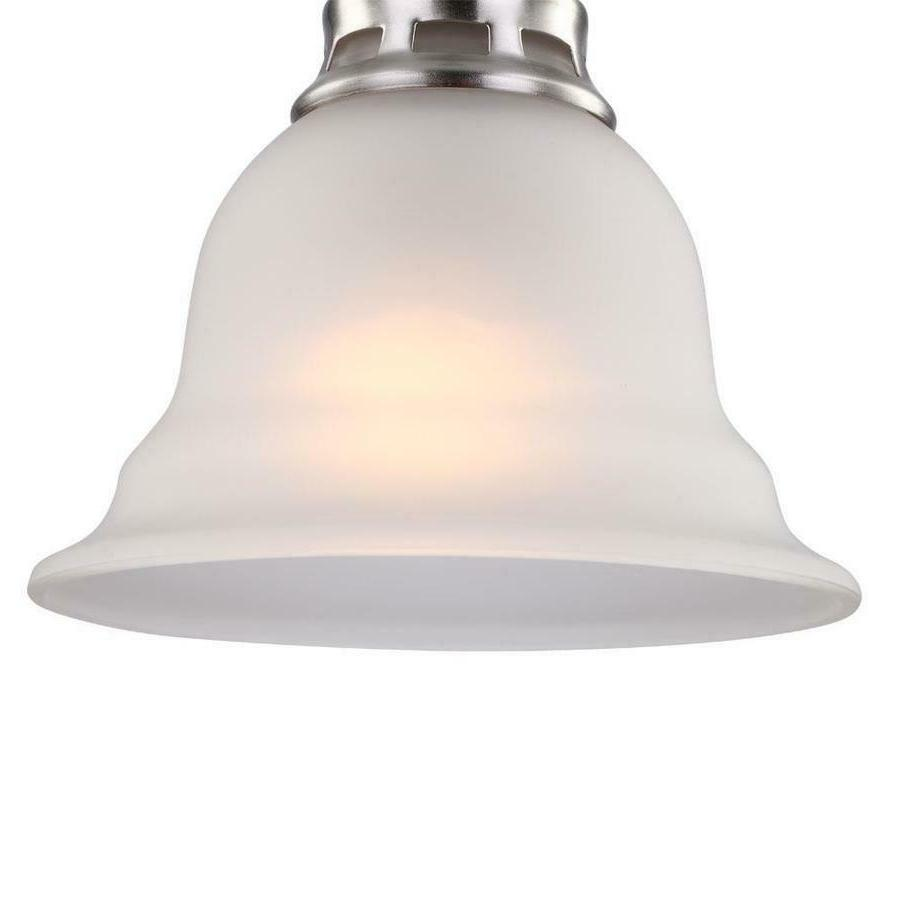 Bell Pendant Light Nickel Shade Glass Ceiling Fixture