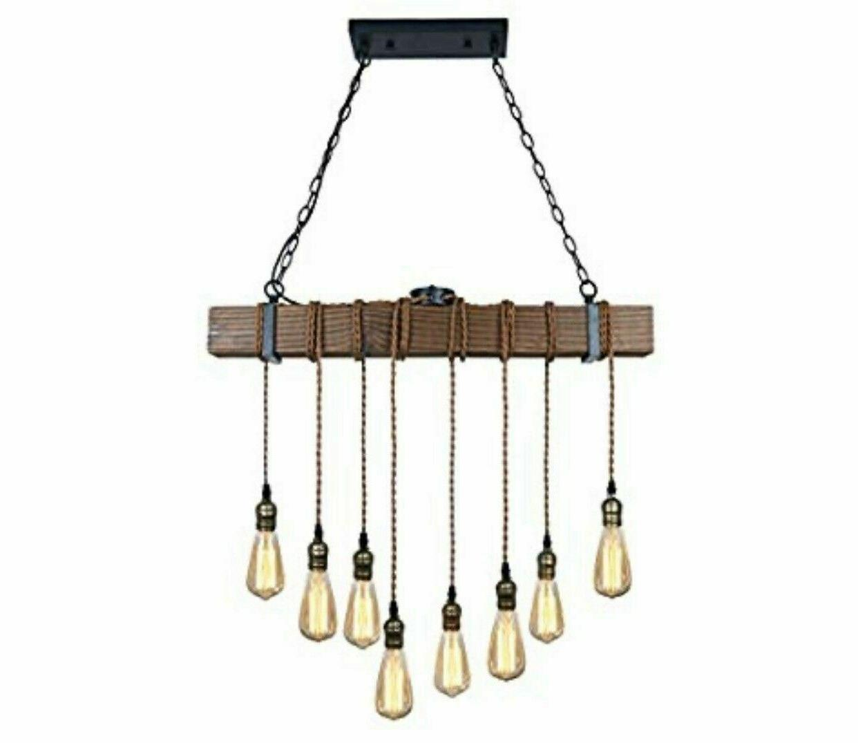 Unitary Brand Rustic Black Wood Hanging Multi Pendant Light