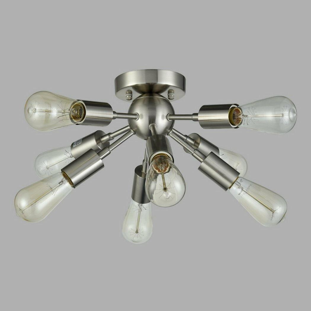 CLAXY Brushed Nickel Sputnik Chandelier with 8 Socket Flush