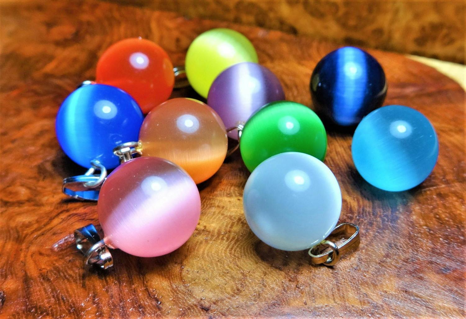 Cats Eye Necklace Colored Glass Ball Pendant 12mm Round Bead