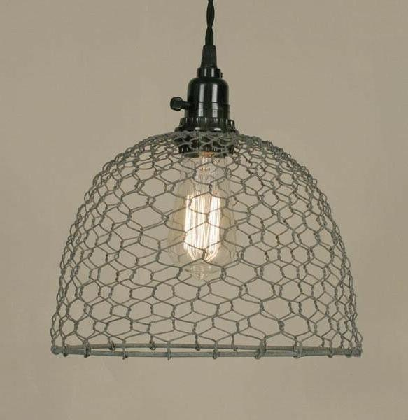 chicken wire hanging pendant light dome rustic