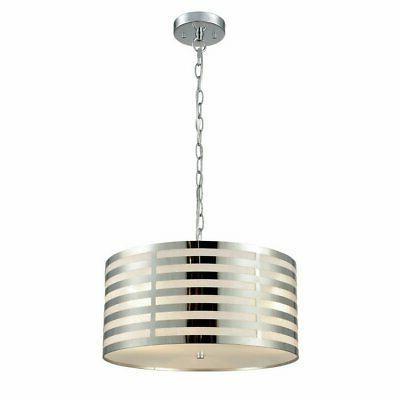 chrome hanging chain drum shade ceiling pendant