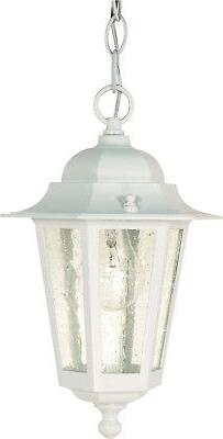 Cornerstone 1 Light White With Clear Seed Hanging Lantern