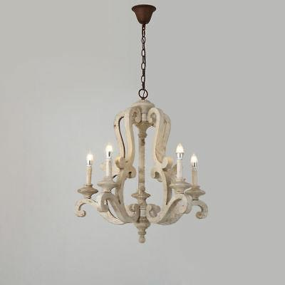 Cottage Distressed White/Brown Wood Candle Chandelier Kitche