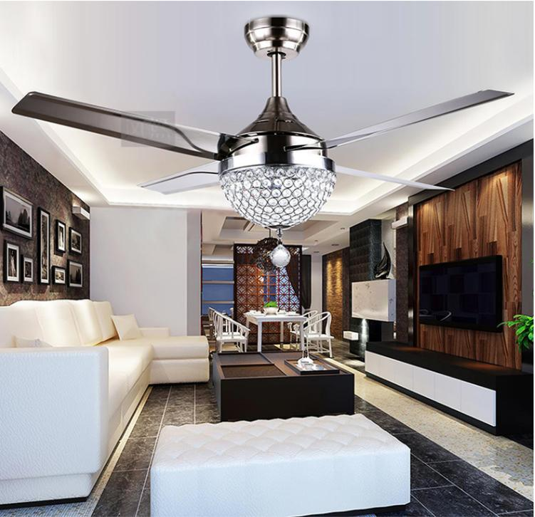 Crystal Fan Chandelier LED Remote Stainless