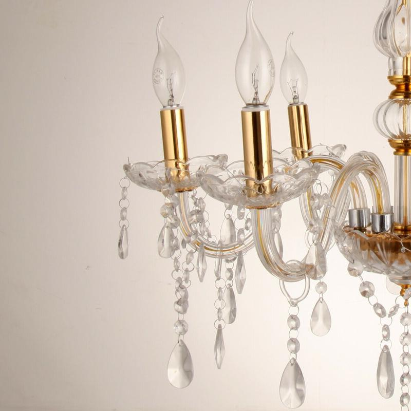 Luxurious Chandelier Lamp Crystal Glass Ceiling Light Gold 6 Arms