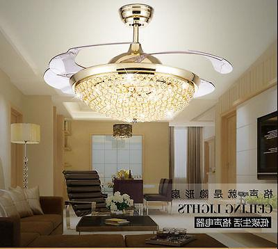 Crystal Invisible Fans LED Chandeliers Pendant Lamp