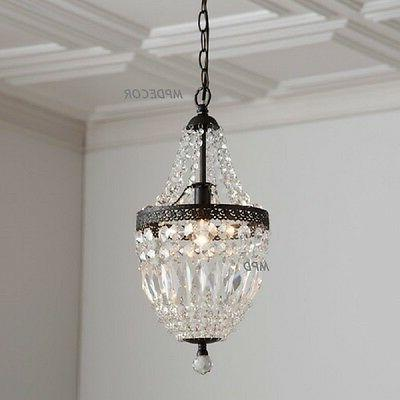 Crystal Mini Chandelier Pendant French Country Vintage Style