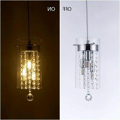 Crystal Mini Pendant Light Fixture Glass Kitchen New