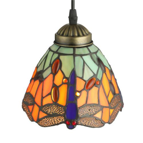 Vintage Tiffany Style Pendant Light Dragonfly Stained Glass