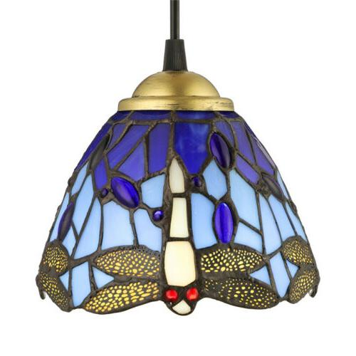 Dragonfly Stained Pendant Light Hanging Ceiling Lighting