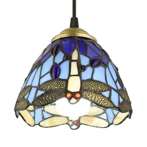 Dragonfly Stained Pendant Light Tiffany Hanging Lighting