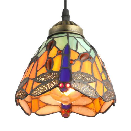 dragonfly stained glass pendant light tiffany hanging