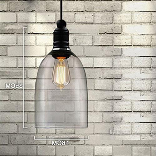 WinSoon 1PC 5.9 X 9 Inch Light Vintage Hanging Big Glass Shade Ceiling Pendent Fi