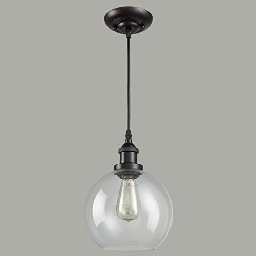 CLAXY Ecopower Vintage Clear Glass Globe Oil Bronze Hanging Light